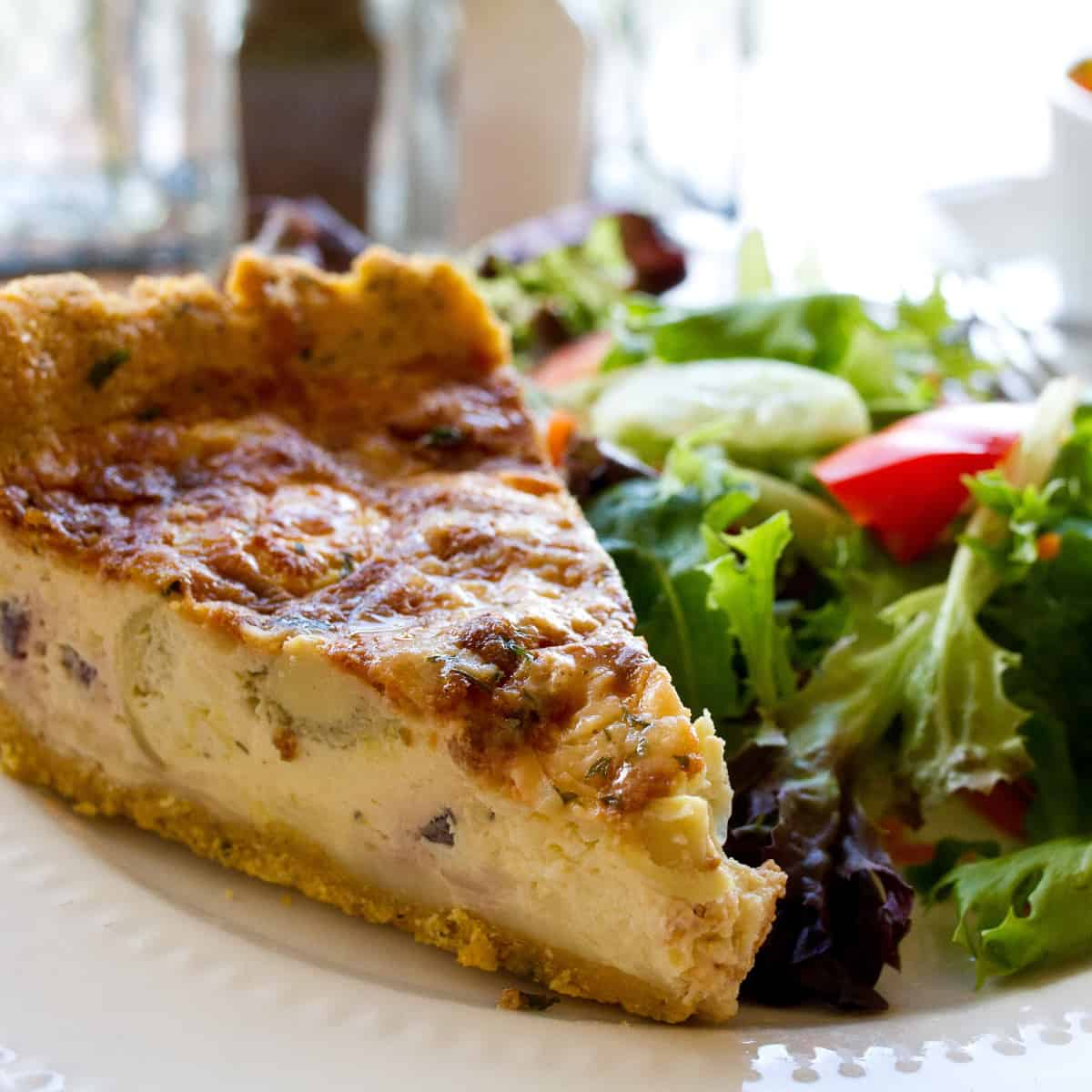 Quiche with salad