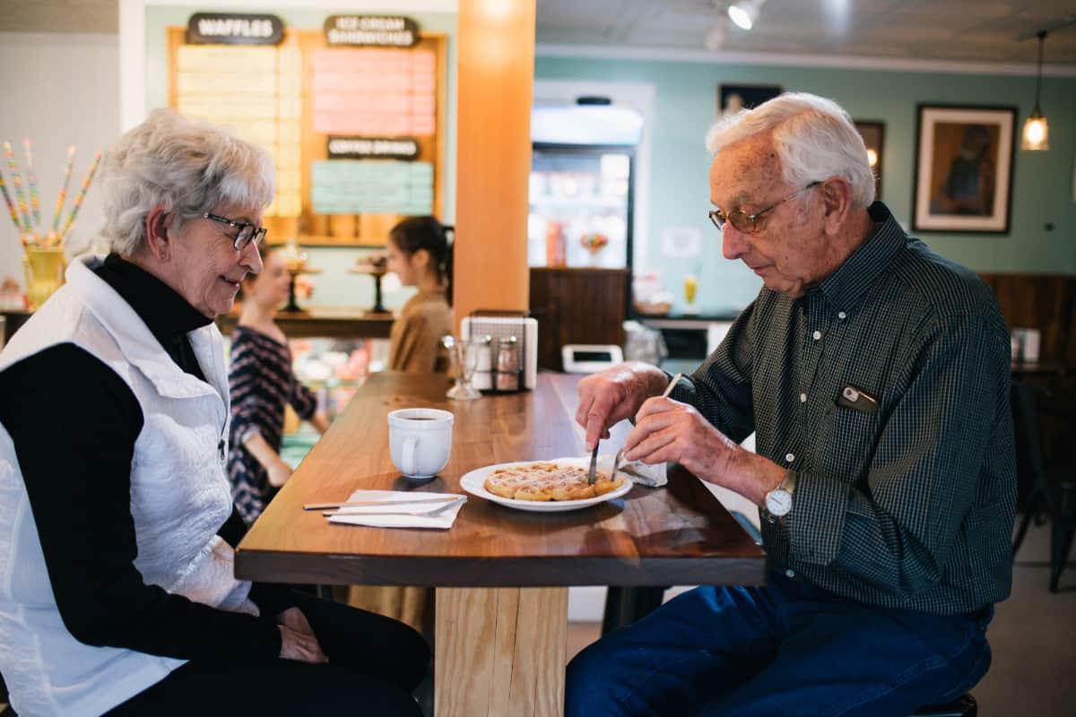 Soda Fountain Customers with Waffle